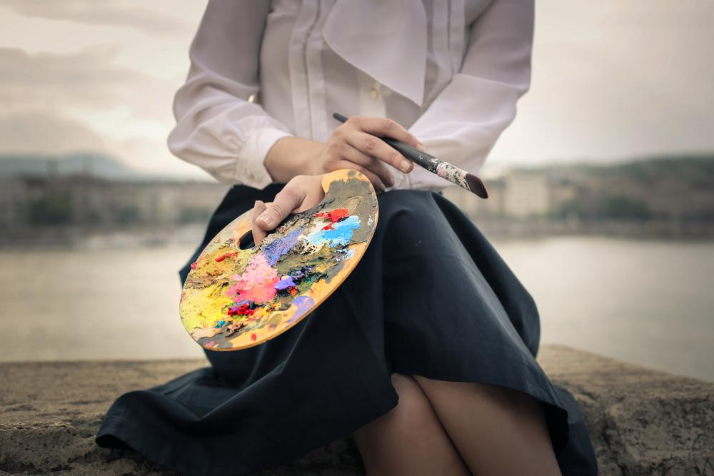 Woman Holding a Paint Palette
